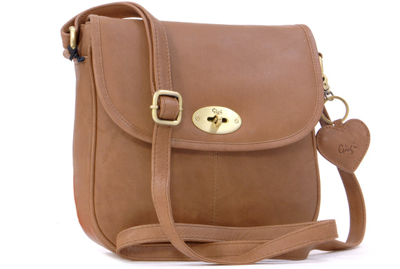 Gigi - Women's Leather Saddle Bag - Shoulder / Cross Body Handbag with Long Adjustable Strap - OTHELLO 8775 - with heart keyring charm - Brown