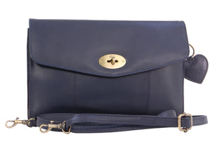 Gigi Twist Lock Flapover Clutch Bag - Leather - Othello 8757 - Navy Blue