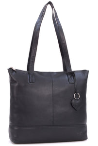 Gigi- Women's Large Leather Tote - Shopper / Shoulder Bag - OTHELLO 9101 - with heart keyring charm - Black