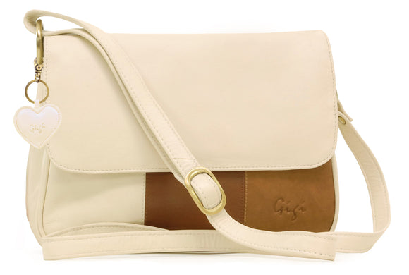 Gigi - Women's Leather Flap Over Cross Body Handbag - Shoulder Bag with Long Adjustable Strap - OTH1008 - with heart keyring charm - Ivory/Brown