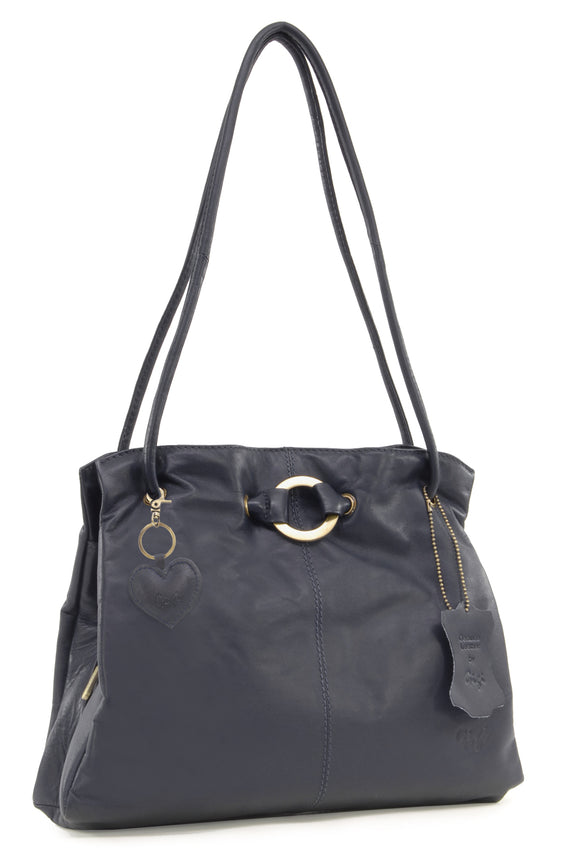 GIGI - Women's Leather Shoulder Bag - OTHELLO 4323 - with heart keyring charm - Dark Blue / Navy