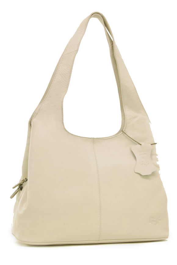 GIGI - Women's Leather Shoulder Bag - OTHELLO 4326 - with heart keyring charm - Cream