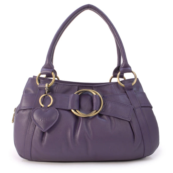 GIGI - Women's Leather Top Handle Handbag / Shoulder Bag - OTHELLO 4466 - with heart keyring charm - Purple