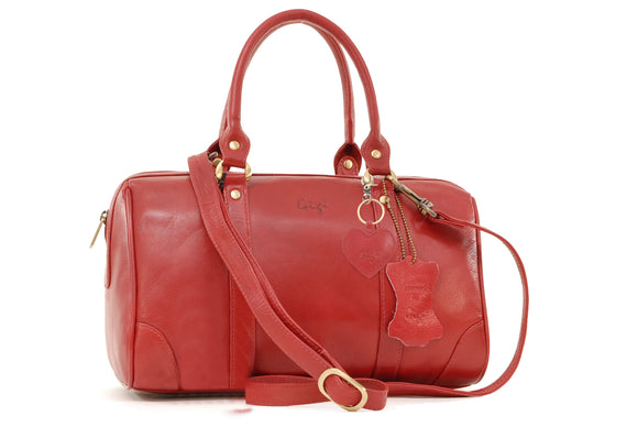 GIGI - Women's Leather Midi Grab Bag - Top Handle Handbag - OTHELLO 5067 - with heart keyring charm - Red