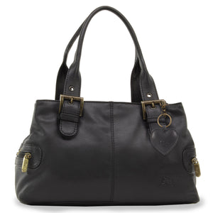Gigi - Women's Leather Top Handle Handbag / Shoulder Bag - OTHELLO 6165 - with heart keyring charm - Black