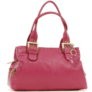 Gigi - Women's Leather Top Handle Handbag / Shoulder Bag - OTHELLO 6165 - with heart keyring charm - Pink