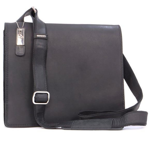 VISCONTI - Messenger Bag - Hunter Leather - Everyday Use / Flap Over / iPad / Kindle / Shoulder / Cross Body / Work Bag / Leisure - 16025 HARVARD (M) - Black