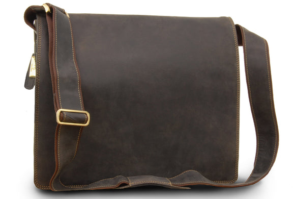 VISCONTI - XL Messenger Laptop Bag A4 plus - Hunter Leather- Shoulder / Cross Body / Hardwearing / Work Bag / Business / Office -16054 - HARVARD XL - Oil Brown