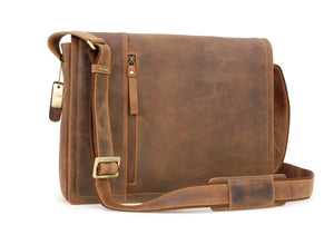 Visconti Laptop Case Messenger Bag - Leather - 16072 Foster - Oil Tan