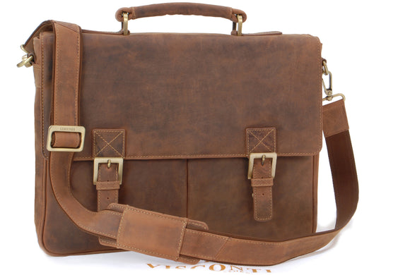VISCONTI - Briefcase Messenger Bag A4 - Hunter Leather- Hardwearing / Shoulder / Cross Body / Laptop Compatible / Notebook / iPad / Business / Office / Work Bag -18716- BERLIN - Oil Tan