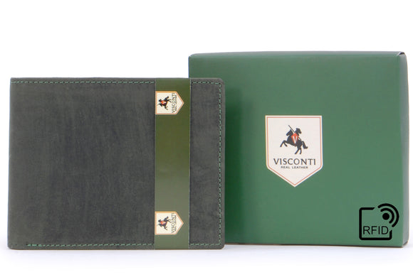 Visconti Wallet - 707 Shield - Hunter Leather - Oil Green - RFID