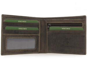 Visconti Wallet - 707 Shield - Hunter Leather - Oil Brown - RFID