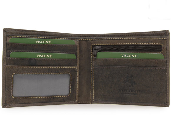 VISCONTI - Mens Wallet - Hunter Leather - Gift Boxed - 707 - Shield - Oil Brown - RFID