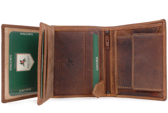 VISCONTI - Mens Wallet - Hunter Leather - Organiser - Gift Boxed - 708 - Spear - Oil Tan-RFID