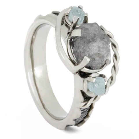 Platinum Rough Diamond and Aquamarine Engagement Ring with Meteorite