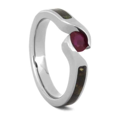 Titanium Ruby and Dinosaur Bone Tension Ring