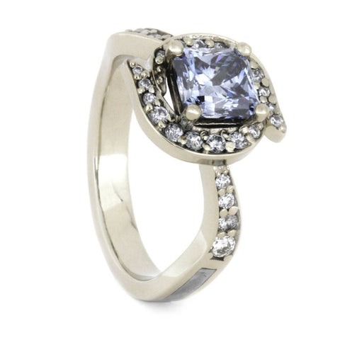 14K White Gold Aquamarine and Diamond Ring with Meteorite