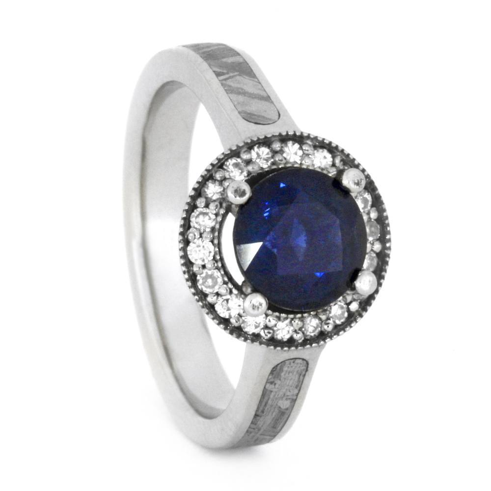 14K White Gold Sapphire and Moissanite Halo Engagement Ring with Meteorite