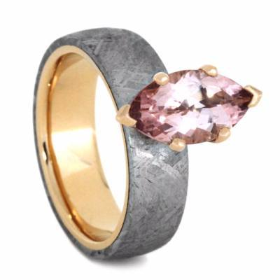 14K Rose Gold Morganite and Meteorite Engagement Ring