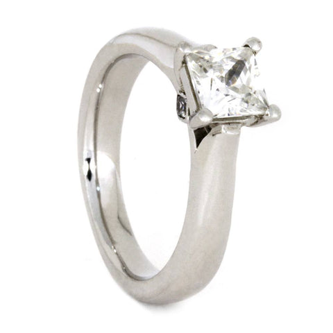 14K White Gold Moissanite Princess Engagement Ring