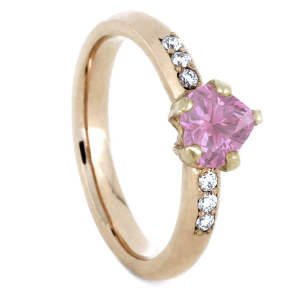 14K Rose Gold Pink Sapphire and Diamond Engagement Ring