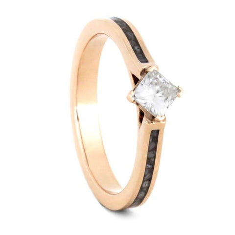14K Rose Gold Moissanite and Deer Antler Engagement Ring