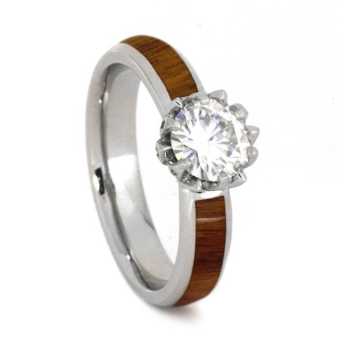 Platinum and Moissanite Hardwood Engagement Ring
