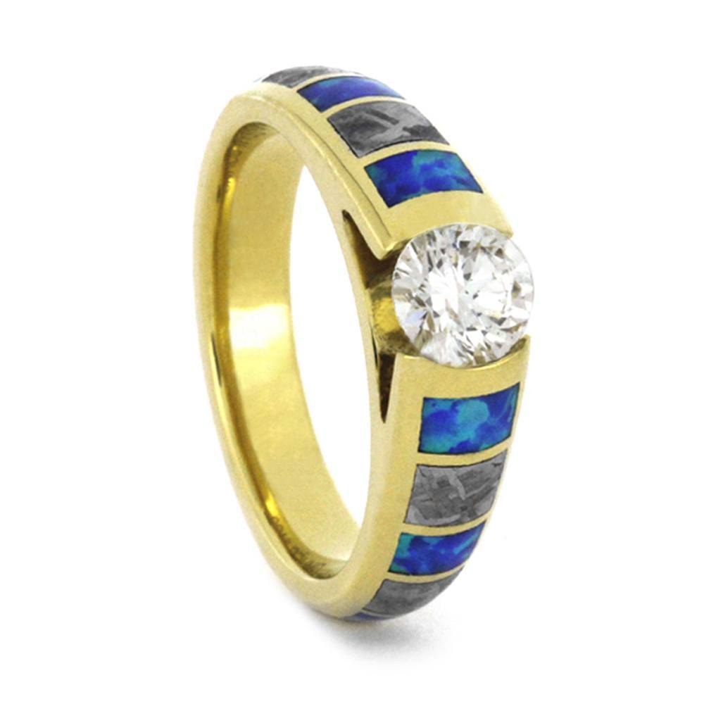 14K Yellow Gold Diamond Engagement Ring with Meteorite and Opal