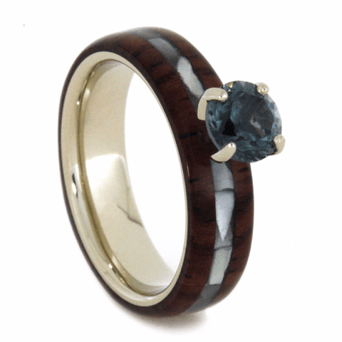 14K White Gold Blue Topaz and Hardwood Engagement Ring