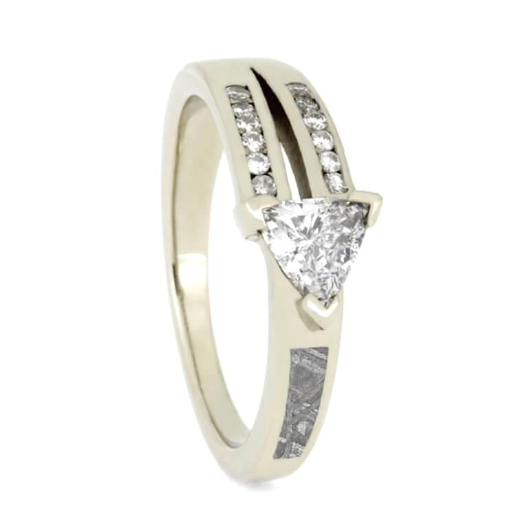 14K White Gold Triangle Diamond and Meteorite Engagement Ring