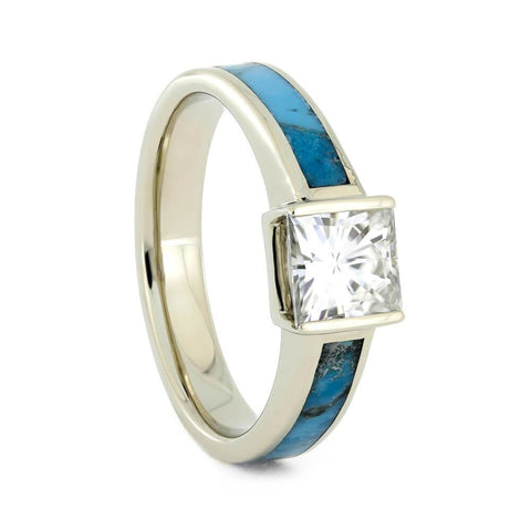 14K White Gold Moissanite and Turquoise Engagement Ring