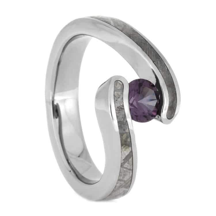 Titanium Alexandrite Tension Ring with Meteorite Inlay