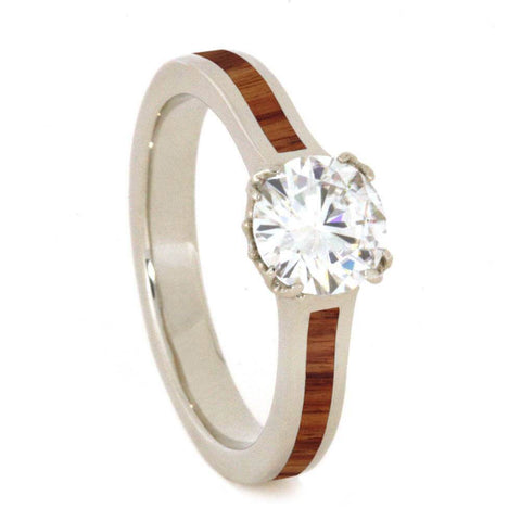 14K White Gold Moissanite and Hardwood Engagement Ring