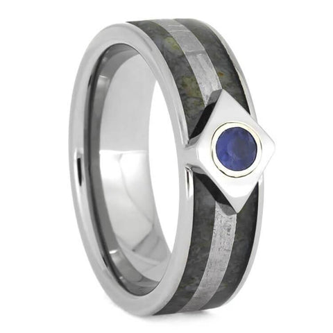 Titanium Sapphire Engagement Ring with Meteorite and Dinosaur Bone Inlays