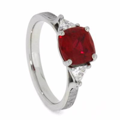 14K White Gold Ruby and Diamond Engagement Ring with Meteorite