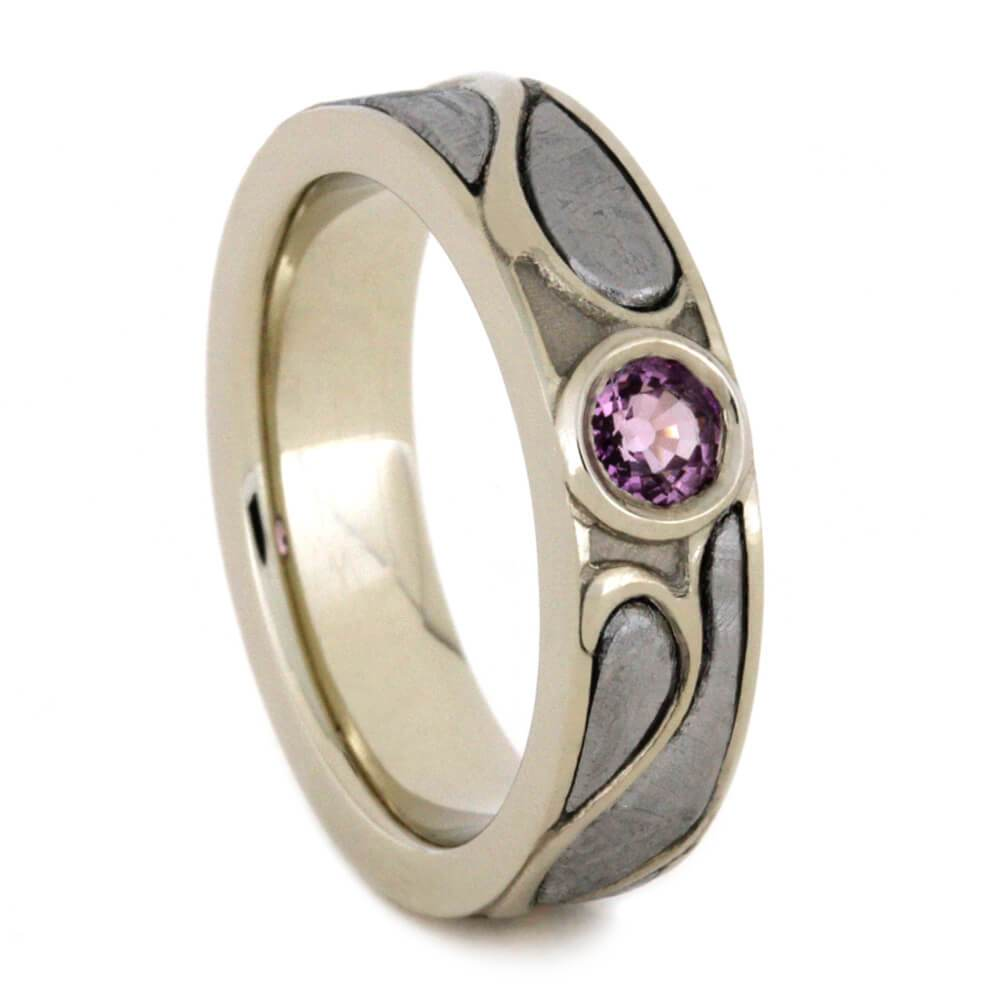 14K White Gold Pink Sapphire and Meteorite Engagement Ring