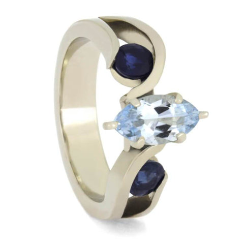 14K White Gold Aquamarine and Sapphire Engagement Ring with Meteorite
