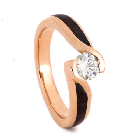 14K Rose Gold Moissanite and Hardwood Tension Engagement Ring