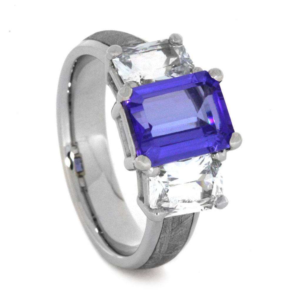 14K White Gold Tanzanite and Sapphire Engagement Ring with Meteorite