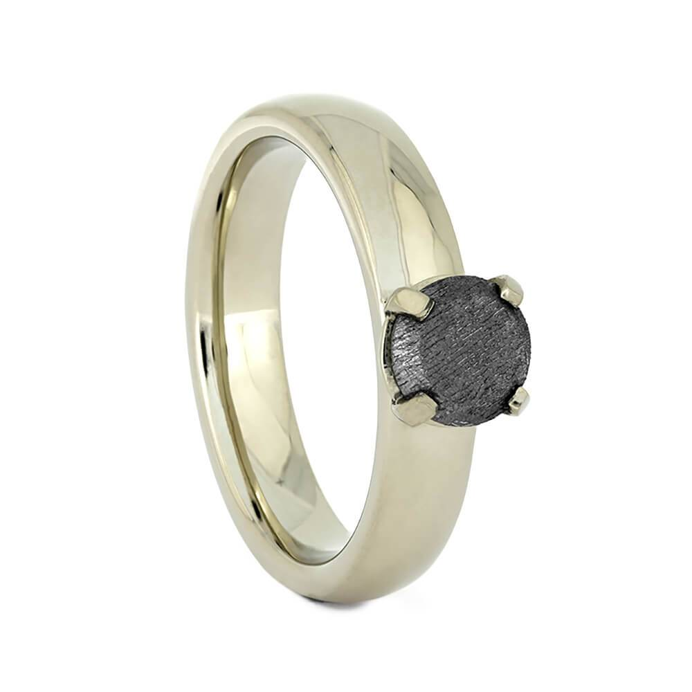 14K White Gold Meteorite Solitaire Engagement Ring