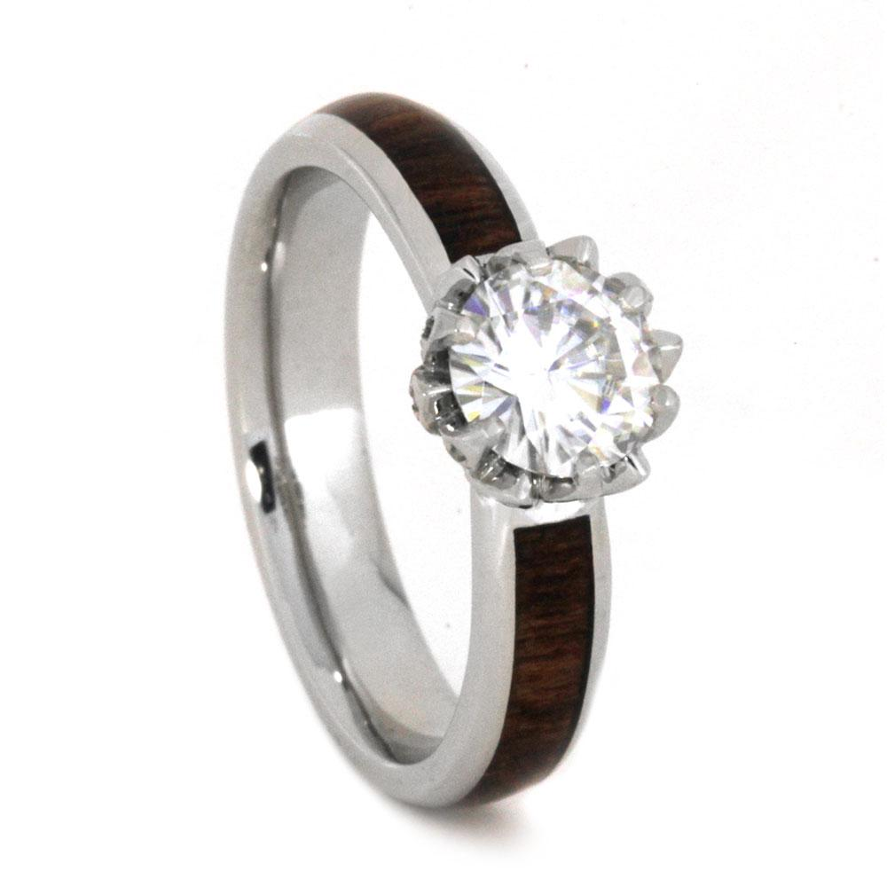 Platinum Moissanite and Hardwood Engagement Ring