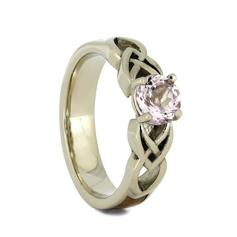 14K White Gold Morganite and Hardwood Engagement Ring