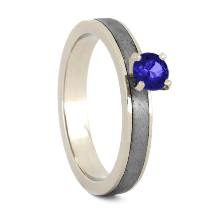 14K White Gold Sapphire Solitaire Ring with Meteorite Inlay