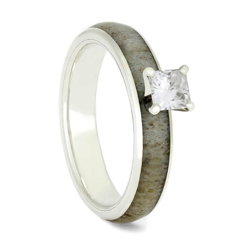Sterling Silver with Deer Antler and Moissanite Engagement Ring