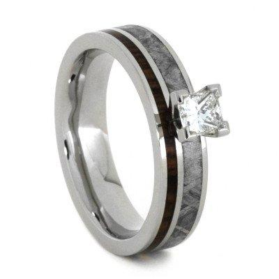 10K White Gold Diamond Engagement Ring with Hardwood and Meteorite