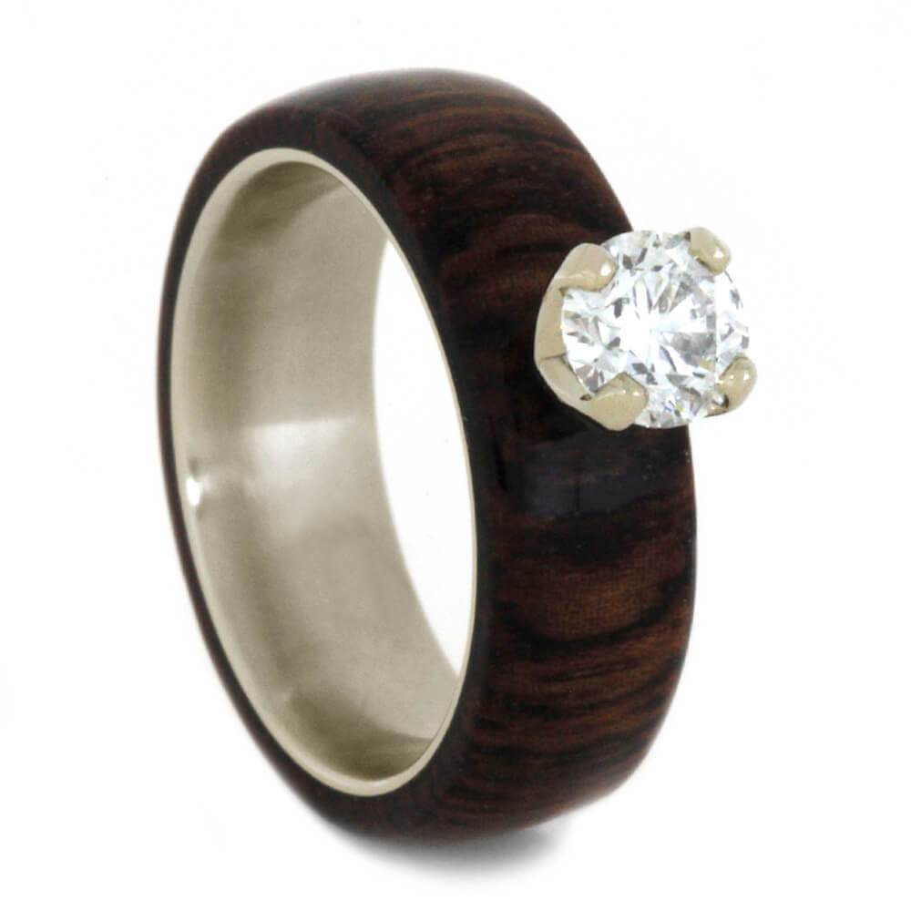 14K White Gold Solitaire Diamond and Hardwood Engagement Ring