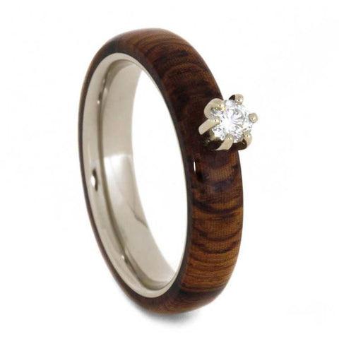 14K White Gold Diamond and Hardwood Engagement Ring