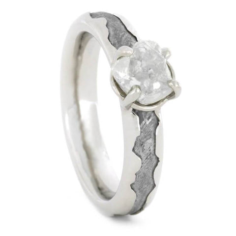 14K White Gold Rough Diamond and Meteorite Engagement Ring