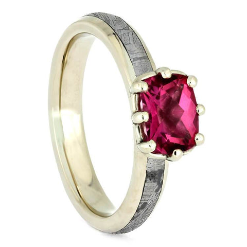 14K White Gold Pink Topaz and Meteorite Engagement Ring