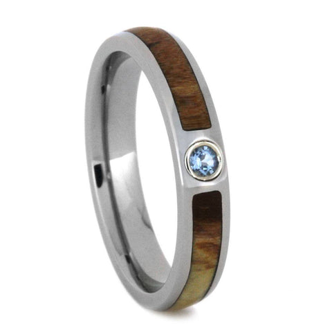 Titanium Aquamarine and Hardwood Ring